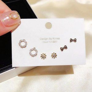 [3 Pairs] 925 Sterling Silver Diamond Earrings A